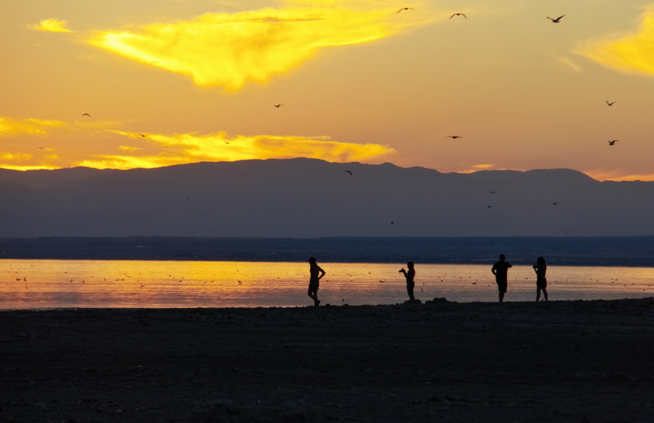 Bombay Beach People Sunset