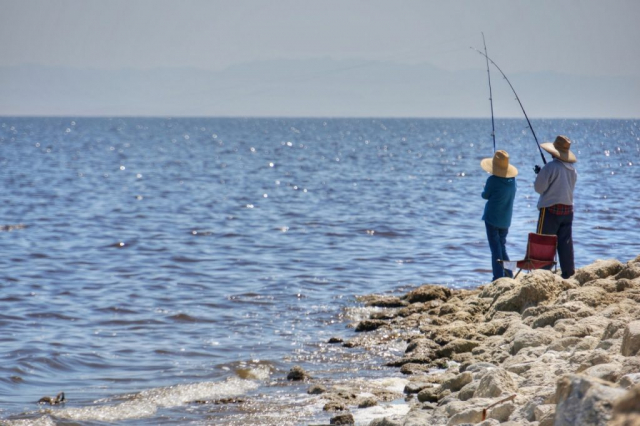 Salton Sea Beach Couple Fishing